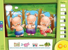 Los Tres Cerditos - Cuentos clásicos con opción de idiomas y audio en castellano, catalán e inglés Lunch Box, Family Guy, Audio, Fictional Characters, Animal, Art, Short Stories, Interactive Whiteboard, Toddler Activities