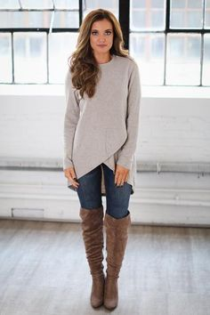 UNIQUE CUT - long but not wide and bulky. City Lights Asymmetrical Sweater - Latte