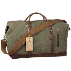 S-ZONE Oversized Canvas Leather Trim Travel Tote Duffel shoulder handbag  Weekend Bag (Upgraded Version) .