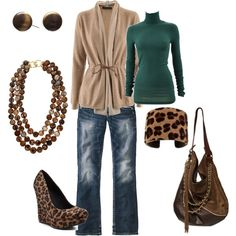Yeah maybe I'd lose the animal print (I know, I know, just not a fan, but I love the basic look (flats please so I don't fall on my face! Pretty Outfits, Cute Outfits, Style Me, Cool Style, Looks Jeans, Passion For Fashion, Autumn Winter Fashion, What To Wear, Stylish