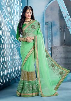 Green designer Indian shimmer net saree with blouse J15109