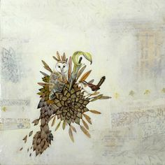 """Mixed media art by Kelcey Loomer. 12"""" x 12"""" 2011. Owl, wren, jack-in-the-pulpit.  http://www.flickr.com/photos/sweetmess/6163517734/in/photostream/"""