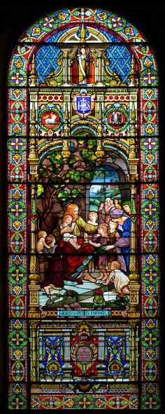 Former church window. Church demolished Jesus and the Children - This is a huge stained glass window, at least 40 feet tall, located at the St Eusebe de Verceil church in Montreal; slated for demolition late Stained Glass Church, Stained Glass Angel, Stained Glass Windows, Catholic Art, Religious Art, Catholic Churches, Leaded Glass, Mosaic Glass, Church Windows