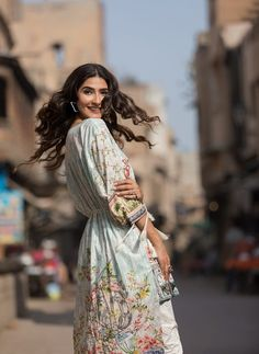 Digital Printed Embroidered lawn Shirt by Firdous