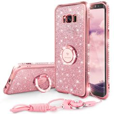 Bling Diamond Case For Samsung Galaxy S8 Case Ring Strap Samsung  Galaxy S8 Plus Case Glitter Pink