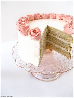 I can't do without white cake with white icing, bakery icing not that whipped cream junk, the real sugary stuff, yummy