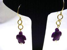 Purple Magnesite Turtle Earrings £6.00