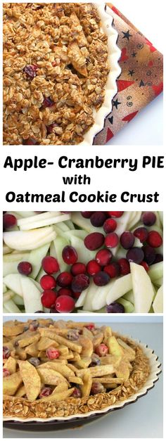 Apple- Cranberry Pie with Oatmeal Cookie Crust recipe - from RecipeGirl.com : awesome Thanksgiving pie recipe