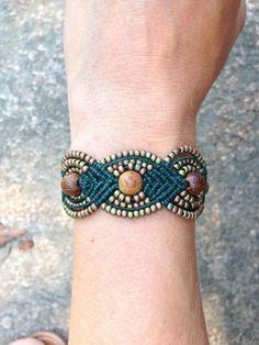 Micro Macrame Bracelet Green and Khaki Iris by OmManiDesign by ViolaBlackRaven