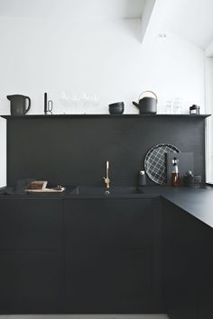 "//Sponsored post ""Black on black"" Black kitchens are very hot these days and I´m very happy that we chose the RIVA black oak kitchen from JKE Design when we renovated the kitchen last year. It real"