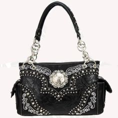 Montana West Black Floral Concho Handbag
