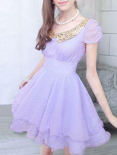 Golden Sequin Collar Chiffon Dress in Purple