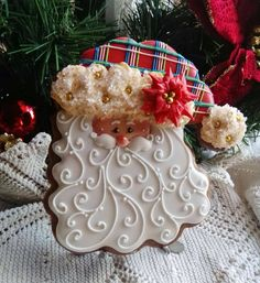 "Beautiful Piped Buttercream""Santa"" Christmas Cookie by Teri Pringle Wood"