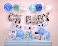 Its A Boy Baby Shower Decoration Kit A beautiful blue, white and silver decoration kit for your baby shower! *** What you will receive: *** - 6 Paper Ball (2 white, 2 light blue and 2 darker blue) - 1 OH BABY foil balloons ( 13 inch, with string and straw to inflate the balloons. I wont