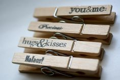 wooden pegs with words on it! SO CUTE!!! This gives me so many ideas ...