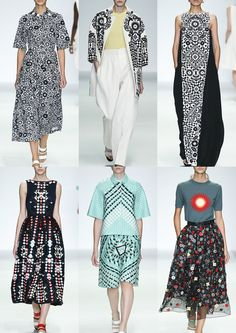 Top Runway $Fashion Prints And Textiles S/S 2015 Holly Fulton #SS15: 60's Floral Motifs – Folk Inspired – Monochrome Pattern – Floral and Geometric Pattern – Engineered Placements – Morris Dancer Decoration – Checker and Diamond Pattern – Pretty Embellishments – Sunburst Motif