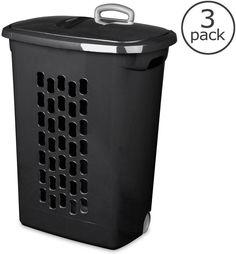 (3-Pack) Black Plastic Wheeled Rolling Laundry Clothes Hamper Tote Basket #Sterilite