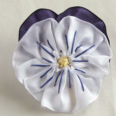 White and Purple Pansy Ribbon Brooch - Handmade in USA via Etsy