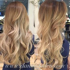 Bright honey blonde balayage and beach waves. Hair by Danni in Denver, co