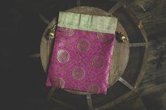 Indian Sari Deep Pink Magenta Gold Brocade Silk Gift Party Bags Fabric Tassel Bollywood Medallion Favor Wedding Pouch Jewelry Potli Zari Bag - $3.00