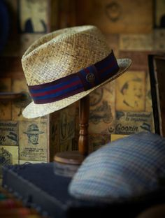 "The ""Hari"" raffia straw teardrop crown fedora and the flat cap by Goorin Bros"