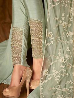 Teal Green Ethnic Embroidered Slit Style Anarkali Pant Suit Hatkay The post Teal Green Ethnic Embroidered Slit Style Anarkali Pant Suit Hatkay appeared first on Dress. Indian Designer Suits, Designer Salwar Suits, Designer Dresses, Designer Pants, Designer Anarkali, Pakistani Dress Design, Pakistani Outfits, Indian Outfits, Pakistani Suit With Pants