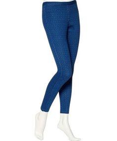 HUE NWT Blue Shock U13997 Geo Print Jeans Leggings, Size Small