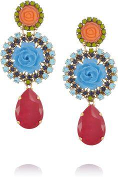 Erickson Beamon|I Never Promised You A Rose Garden gold-plated Swarovski crystal clip earrings|NET-A-PORTER.COM