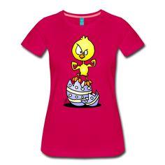 Paaskuiken T-Shirt.  #Pasen #Paaskuiken #kuiken #Paasei #Tshirt #fashion #winkelen #shoppen #Spreadshirt  Grappige tekening van een Paaskuiken dat uit zijn Paasei ontsnapt.