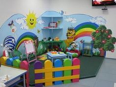 A colored fence for safeguarding Kids Church Rooms, Church Nursery, Nursery Room, Kids Bedroom, Kids Indoor Playhouse, Playroom Mural, Preschool Decor, Kindergarten Design, Daycare Rooms