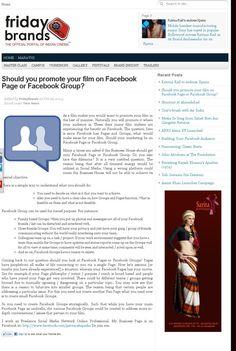 Should you promote your film on Facebook Page or Facebook Group 2  http://www.fridaybrands.com/should-you-promote-your-film-on-facebook-page-or-facebook-group/?utm_source=feedburner_medium=email_campaign=Feed%3A+FridayBrands+%28Friday+Brands%29
