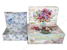 Punch Studio Nesting Boxes Large Fresh Flowers Set/3