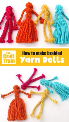How to make traditional yarn dolls with braided arms and legs. This is a fun and easy craft for kids which is low prep, low mess and inexpensive to make. Yarn dolls make cute DIY toys and handmade gifts # Easy Crafts for gifts Braided Yarn Dolls Easy Yarn Crafts, Yarn Crafts For Kids, Crafts To Sell, Diy For Kids, Fabric Crafts, Fun Crafts, Gifts For Kids, Fabric Toys, Diy Yarn Gifts