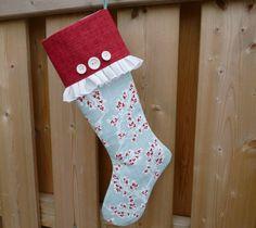 Christmas Stocking - Elegant Stocking  -  Classic Stockings - Red / Script Stocking - Vintage Inspired Stocking