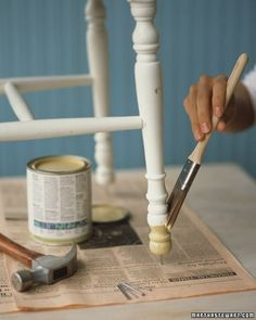 Before updating or touching up a chair or small, lightweight table, elevate it over the work surface by gently tapping a nail into the bottom of each leg. The legs will get better air circulation for drying and wont stick to the surface.