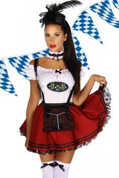 - schönes Dirndl-Set - Petticoat-Rock mit angenähter Schürze - Hosenträger aus Kunstleder mit Druckknopf - Rock mit elastischem Gummibund - Bluse mit Emblem und seitlichem...