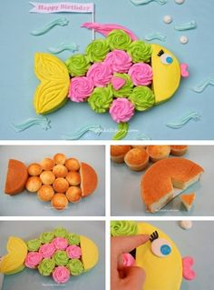Fish Baby Shower Decorations | Cupcake Fish Cake! (tutorial) #fish #fishcake ... | Baby Shower Ideas