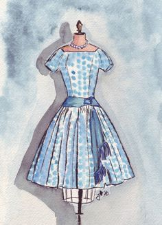 Retro Fashion Illustration - Blue Polka Dot Vintage Dress Watercolor Art Print, 5x7