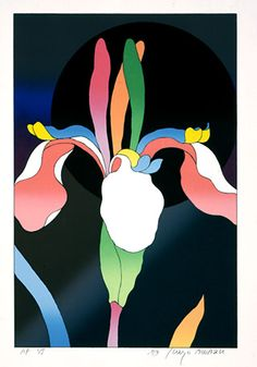 Kiyoshi AWAZU Japan Graphic Design, Plant Painting, Illustration Art, Illustrations, Japanese Poster, Japanese Aesthetic, Irises, Vintage Japanese, Installation Art