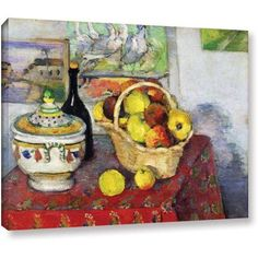 Paul Cezanne Still Life with Tureen Gallery-wrapped Canvas Art, Size: 14 x 18, Green