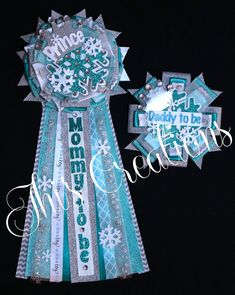 """Prince in Winter Wonderland themed baby shower pin/mum/corsage set with """"Mommy to be"""" and """"Daddy to be"""" pins in teal, aqua, white, and silver... #JhisCreations"""