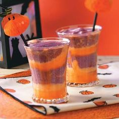 Hocus-Pocus Sherbet Potion Recipe- Recipes We worked our magic in the kitchen and whipped up this clever beverage. Sherbet and ice cream combine with orange juice and berries to create the playful layers.Taste of Home Test Kitchen Halloween Drinks, Halloween Goodies, Halloween Food For Party, Holidays Halloween, Halloween Treats, Diy Halloween, Fun Drinks, Yummy Drinks, Beverages