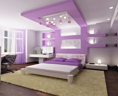 The purple hue of the bedroom simply adds a magic touch of sobriety and elegance.