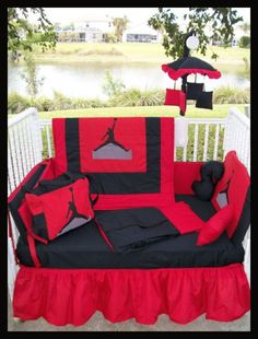New Custom made MICHAEL JORDAN JUMPMAN Crib by KustomKidsBedding