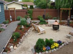 Seating area, backyard without turf, switch to drought tolerant plants
