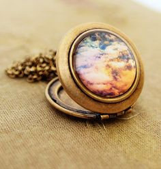 Cosmic  Photo Locket Necklace  Heavenly Clouds by HeartworksByLori, $40.00