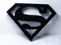 "Superman Wood Logo Shield Wall Art or Key Holder Solid Pine 10.5"" x 8"" Irregular"