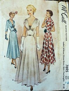 dress day cocktail evening blue white red floral solid full skirt late to early era illustration print ad vintage fashion McCall 7695 I WANT THIS PATTERN! Moda Vintage, Moda Retro, 1940s Dresses, Vintage Dresses, Vintage Outfits, 1940s Evening Dresses, Vintage Dress Patterns, Clothing Patterns, 1940s Fashion
