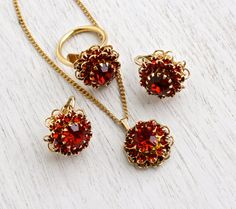 Vintage Ruby Red Rhinestone Jewelry Set - Gold Tone Ring, Clip On Earrings, & Necklace Parure Deep Burgundy Costume Jewelry / Flower Cluster
