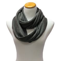 Gray Simple Lightweight Knit Eternity Ring Circle Scarf $11.99